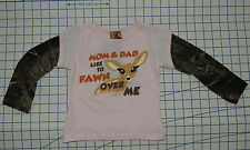 MOM & DAD LIKE TO FAWN OVER ME Girl 2 T Shirt Pink Camo BUCK WEAR Hunting Deer