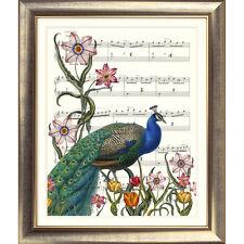 Impresión de arte original de colección de música página De Pavo Real Flores De Jardín De Foto Antigua