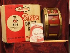 1960's Mastro Snare Drum with Box Booklet Stand Vintage 2 Stick and 2 Brush Set