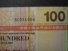 HONG KONG 2009 HSBC 100 DOLLARS, FANCY REPEATER NUMBER SC 055055, ULTRA GEM UNC