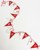 110cm Merry Christmas Wooden Bunting Flag Garland Red & White Decoration Vintage