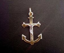 Jerusalem Cross Anchor Gold and White pilgrim Pendant Yellow Gold 14kt solid #