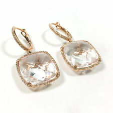 14K Rose Gold Cushion Square Cabochon White Topaz and Diamond Dangle Earring