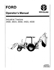 FORD INDUSTRIAL TRACTOR DIGGER 3400 3500 3550 4400 4500 OPERATORS MANUAL