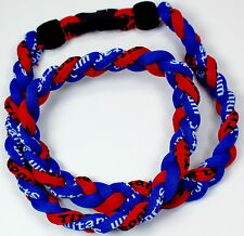 "NEW! BASEBALL Titanium Tornado Sports Necklace 20"" Royal Blue Red Braided 3 ROPE"