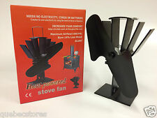 Black Heat Powered Wood Stove Fan - Wood Pellet - High Quality 12 Month Warranty