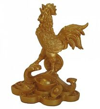 Golden Rooster Statue Stepping on Ru Yi and Coins
