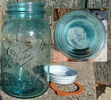 NICE SHARP EMBOSSING NUMBER 13 BALL FRUIT JAR QUART WITH BALL ZINC LID