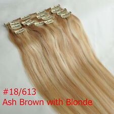 """14"""" #18/613 Blonde Hair Extensions Clip In 100% Remy Real Human Hair Extension"""