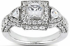 3.19 ct total Princess, Round & Triangle DIAMOND Halo Engagement 14k Gold Ring