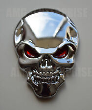Self Adhesive Chrome 3D Metal Skull Hell Badge Sticker for all cars bikes quads