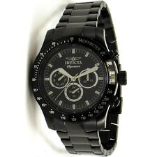 Invicta 7352 Signature Black Steel Day Date Swiss GMT 44mm 100m Mens Watch