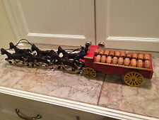 NICE Vintage Cast Iron Beer Wagon w/ 6 Horses + 2 Drivers and Wooden Beer Kegs