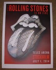 ROLLING STONES concert poster print STOCKHOLM ton 7-1-14 2014 Lithograph ON FIRE