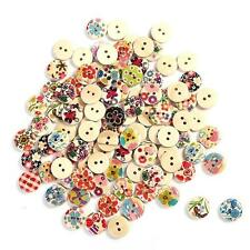 Wholesale 25X Mixed Patterns 2 Holes 15mm Wooden Buttons Sewing Scrapbooking New