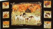 """Hunting Dogs Panel """"Country Fields"""" Panel Blue Hill Quilt Shop Fabric 2/3Yd"""