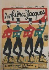 """""""LES FRERES JACQUES"""" Affiche originale entoilée Litho Jean Denis MALCLES 43x63cm"""