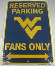 WEST VIRGINIA RESERVED PARKING SIGN MOUNTAINEERS FANS METAL 8X12 INCHES NEW L701