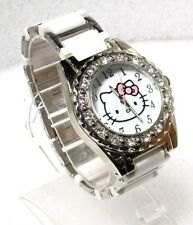 SANRIO HELLO KITTY WHITE DIAL CRYSTAL SILVERTONE SS WHITE PLASTIC WATCH HK2183