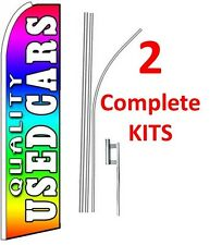 2 (two) QUALITY USED CARS rainbow 15' SWOOPER #1 FEATHER FLAGS KIT with poles+