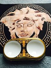 VERSACE GOLD CAT DOG DISH BOWL FEEDING PLATE BAROCCO ROSENTHAL NEW $1200 SALE