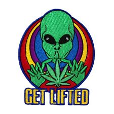 "Spaced Alien ""Get Lifted"" Patch Psychedelic Pot Leaf Marijuana Iron-On Applique"