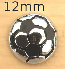 ;Mini Snap Chunk Silver & Black Soccerball Charm Fits Snap Bracelets & Necklace