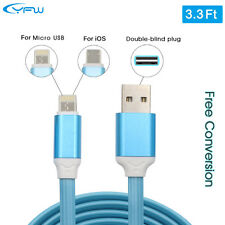 Dual Sided Aluminum Micro USB 2 in 1 Charging Data Sync Cable for iOS Android