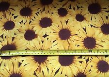 YELLOW SUNFLOWER FABRIC FQ-55cm X 50cm-100% COTTON MATERIAL-KITSCH/RETRO-SUMMER