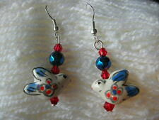 Bird earrings. Hand made. Blue bird. Sterling silver hooks. New.