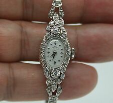 VINTAGE LADIES HAMILTON 14K WRIST WATCH WITH FULL DIAMONDS. 18MM X 14MM