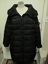 Portrait Down Quilted Coat with Large Drawstring Collar 1X Black NWT $400