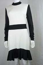 Bebe Womens Large Black White Mock Neck Party Work Cocktail Sheath Dress New NWT