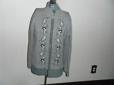 Womens Crystal-Kobe Sz L Zip Up Gray w/Embroidered Paisley Design EUC