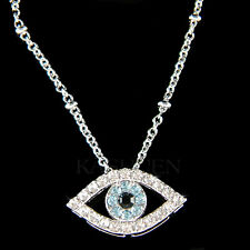 w Swarovski Crystal Blue Jewish Judaism Evil Eye Guardian Chain Necklace Jewelry