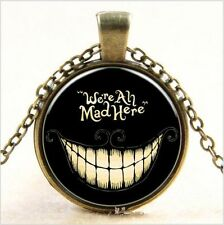 "MetalPunk Bronze Steampunk Smile Glass Art Pendant Chain Necklace-18""CHAIN"