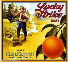 Oroville & Palermo Butte Lucky Strike Orange Citrus Fruit Crate Label Print