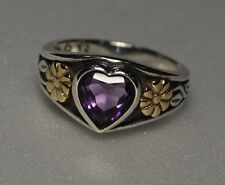 JAMES AVERY AMETHYST HEART RING RETIRED FLOWER 14k GOLD STERLING SILVER