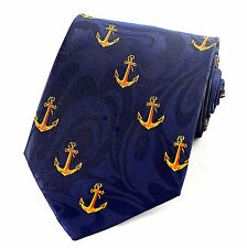 Ship Anchors Mens Neck Tie Nautical Blue Necktie Boat Sea Military Navy Gift New