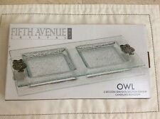 """Clear Glass Server or Pillar Candle Holder With Metal Owls at the Corner 13"""" x 7"""
