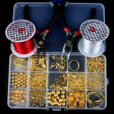 Gold Plated Jewellery Making Starter Kits Pliers Findings Charms Beads Tools Set