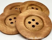 4 RUSTIC NATURAL WOOD BUTTONS LARGE GIANT 60mm FOR SEWING CRAFTS AND FANCY DRESS