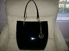$268 Michael Kors Jet Set Chain Tote Bag Shoulder Black Patent MK Medallion NWT