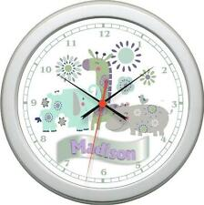 Personalized Greens Grey & Turquoise Zoo Garden Wall Clock Girl Nursery Decor