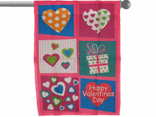 "HAPPY VALENTINE'S DAY PATCH HEARTS GARDEN BANNER/FLAG 28""X40"" SLEEVED POLY"