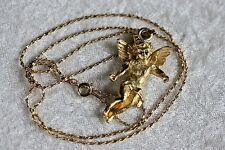 "Gold Tone Necklace Cherub Angel Cupid 2"" Pendant 24"" Chain Valentine's Day N169"