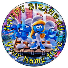 """THE SMURFS & SMURFETTE FUN PARTY - 7.5"""" PERSONALISED EDIBLE ICING CAKE TOPPER"""