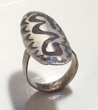 VINTAGE SOUTHWESTERN STERLING SILVER RING, CHIP INLAY SNAKE, STAMPED, SZ 7.75