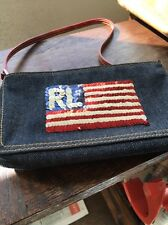 Ralph Lauren Sequin American Flag Denim Jean Purse Small Kids