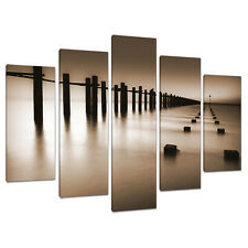Set of Five Part Brown Sepia Canvas Wall Art Pictures Prints XXL 5088